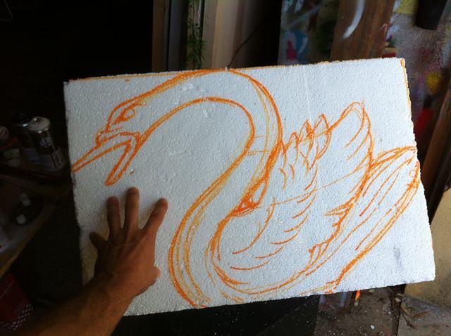 Sculpture polystyrene oiseau cygne
